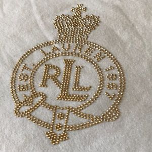 Ralph Lauren White Shirt 2X Gold Embellish Emblem
